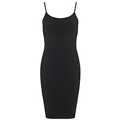 Miss Selfridge - Black rib strappy dress