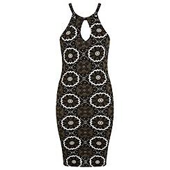 Miss Selfridge - Khaki print 90s dress