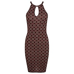 Miss Selfridge - Burgundy tile 90s dress