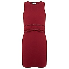 Miss Selfridge - Burgundy laser cut layer dress
