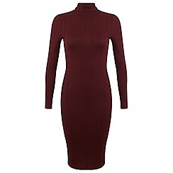 Miss Selfridge - Burgundy rib midi dress