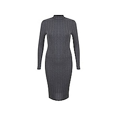 Miss Selfridge - Grey rib midi dress