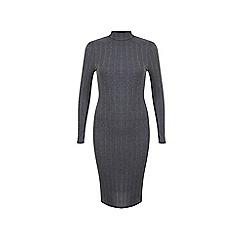Miss Selfridge - Grey rib midi dress