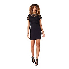 Miss Selfridge - Black eyelash lace midi dress