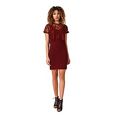 Miss Selfridge - Burgundy lace midi dress