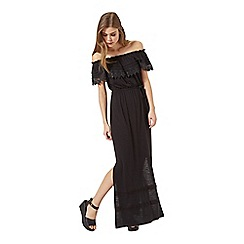 Miss Selfridge - Black crochet bardot maxi