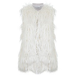 Miss Selfridge - Cream faux fur knitted gilet