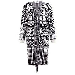 Miss Selfridge - Hooded fringe pattern cardigan