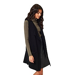 Miss Selfridge - Black waterfall knitted duster