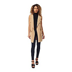 Miss Selfridge - Camel waterfall knitted duster