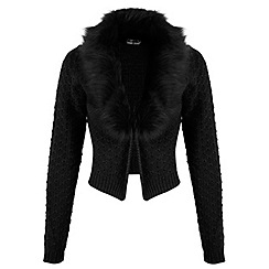 Miss Selfridge - Black faux fur collar cardigan