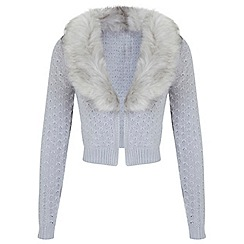 Miss Selfridge - Grey faux fur collar cardigan