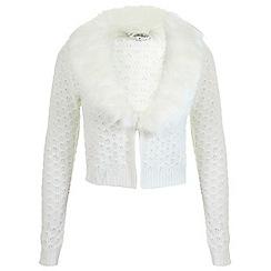 Miss Selfridge - Ivory faux fur collar cardigan