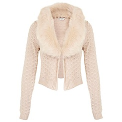 Miss Selfridge - Blush faux fur collar cardigan