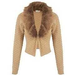 Miss Selfridge - Camel faux fur collar cardigan