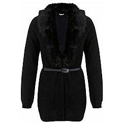 Miss Selfridge - Black faux fur belted cardigan