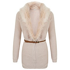 Miss Selfridge - Blush faux fur belted cardigan