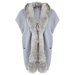 Miss Selfridge - Grey faux fur sleeveless cardi