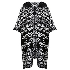 Miss Selfridge - Faux fur pattern hooded poncho