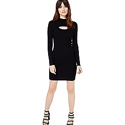 Miss Selfridge - Black slit front knitted dress