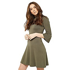 Miss Selfridge - Khaki pointelle tie dress