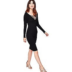 Miss Selfridge - Black v front lattice dress