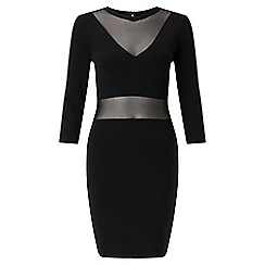 Miss Selfridge - Black sheer bodycon dress