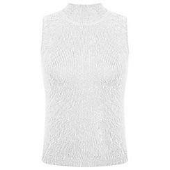 Miss Selfridge - Cream fluffy knitted top