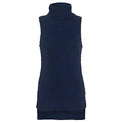 Miss Selfridge - Navy fluffy knitted tunic