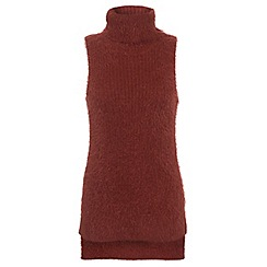 Miss Selfridge - Rust fluffy knitted tunic