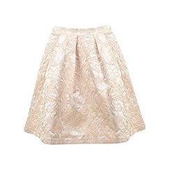 Miss Selfridge - Petite blush jacquard skirt
