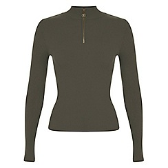 Miss Selfridge - Khaki zip front funnel jumper