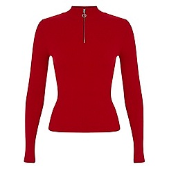 Miss Selfridge - Red zip front jumper
