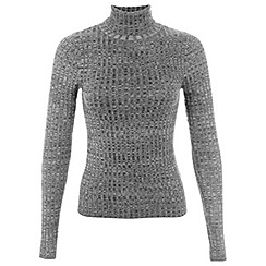 Miss Selfridge - Grey rib roll neck jumper