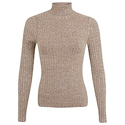 Miss Selfridge - Camel twist rib roll neck