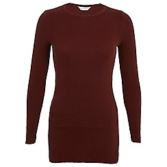 Miss Selfridge - Rust side split tunic jumper