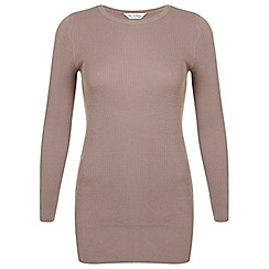 Miss Selfridge - Camel side split tunic jumper