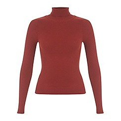 Miss Selfridge - Rust rib roll neck jumper