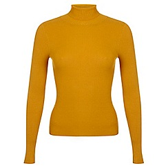 Miss Selfridge - Ochre rib roll neck jumper