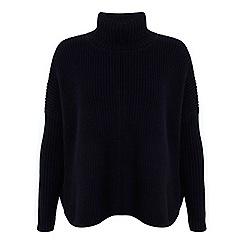 Miss Selfridge - Navy chunky roll neck jumper