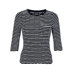 Miss Selfridge - Navy stripe scallop jumper