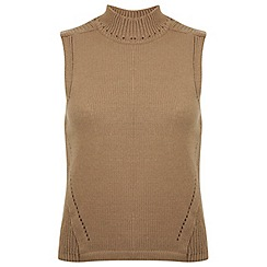 Miss Selfridge - Camel sleeveless knitted top