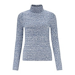 Miss Selfridge - Blue twist ribbed roll neck