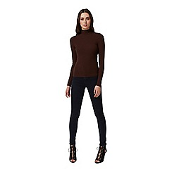 Miss Selfridge - Chocolate rib roll neck jumper