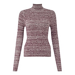 Miss Selfridge - Burgundy twist rib roll jumper