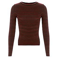 Miss Selfridge - Burgundy stripe button jumper