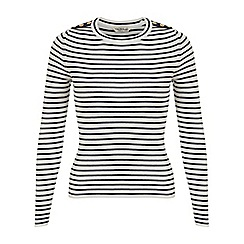 Miss Selfridge - Navy stripe button jumper