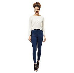 Miss Selfridge - Cream flute sleeve crochet top