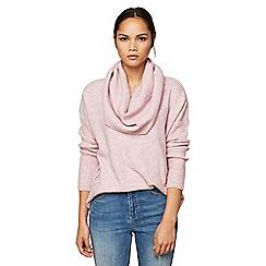 Miss Selfridge - Pink slouchy cowl neck jumper