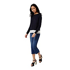Miss Selfridge - Navy lace hem pointelle jumper